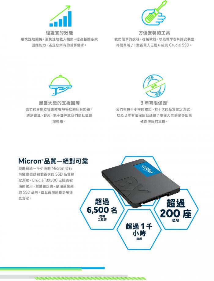 美光 Micron Crucial BX500 480G